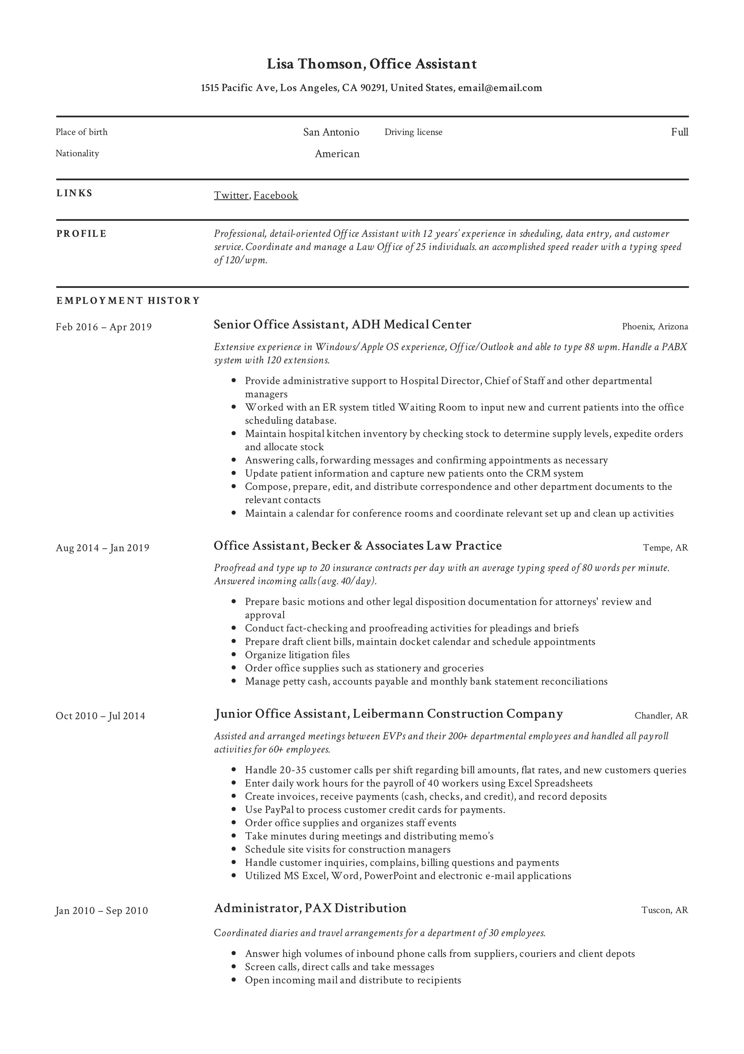 Office Assistant Resume Template Office Assistant Resume Resume Examples Office Assistant