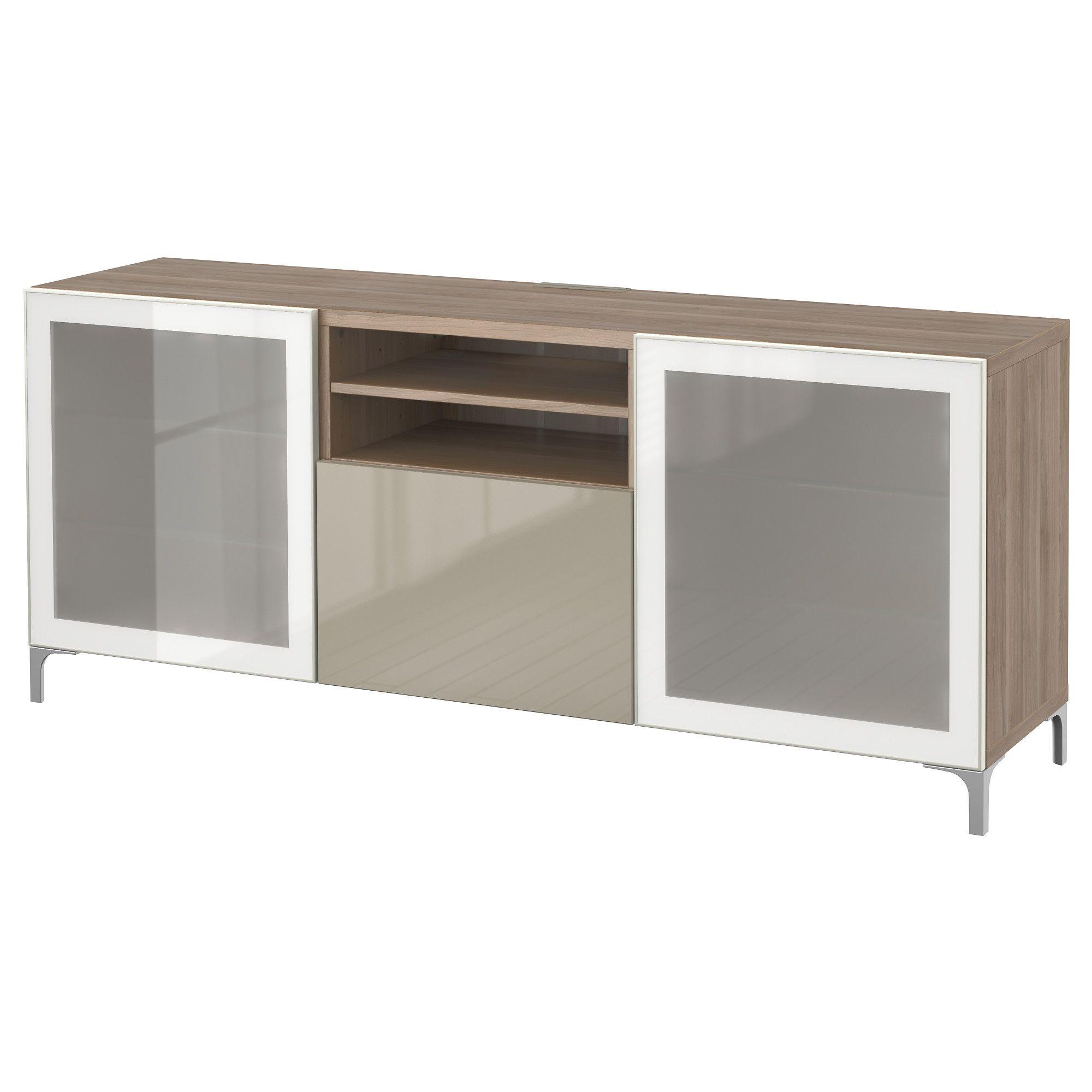 Ikea TV Unit With Push Open Drawers, Walnut Effect Light Gray, Selsviken  High Gloss/beige Clear Glass