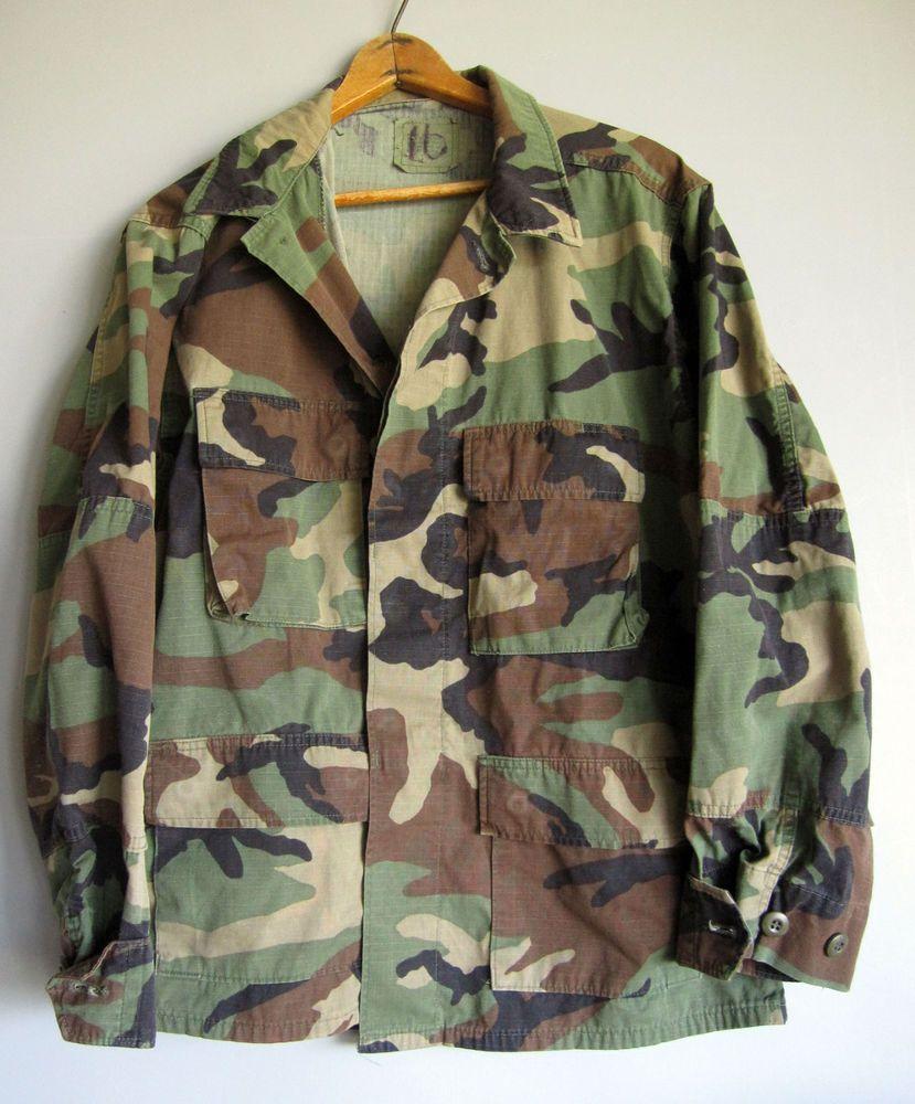 536d0f37cd8f7 Vintage Army Camo Jacket Shirt Camouflage US Military Hunting Bdu Medium # military #Military