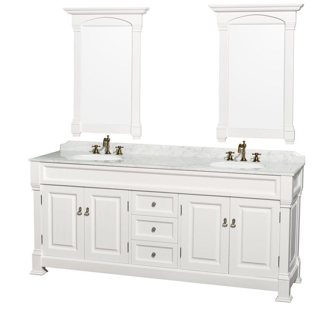 Wyndham Collection Andover 80 Inch White Um Round Sink 24 Inch