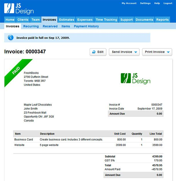 Showcase of Great Web App Interfaces - freshbooks invoice templates