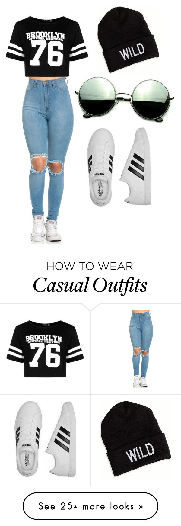 """""""Casual"""" by lanayalarose on Polyvore featuring Boohoo, adidas, Revo and American Eagle Outfitters"""