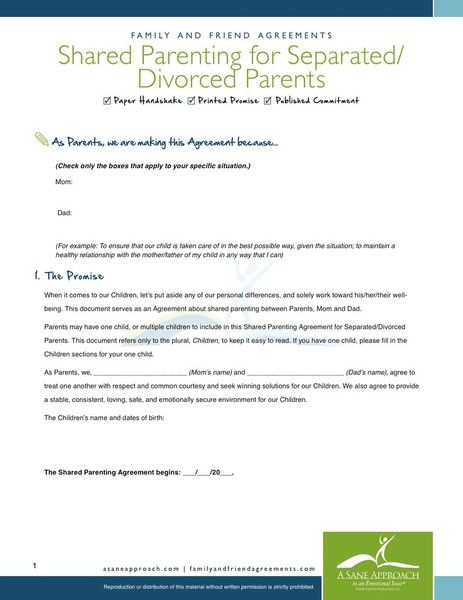 Shared Parenting Agreement  Pdf By A Sane Approach  Family And
