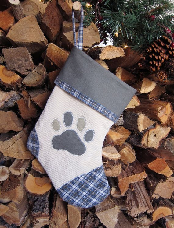Pet Christmas Stocking Paw Print in Soft Cordurory by WhistleTree, $32.00