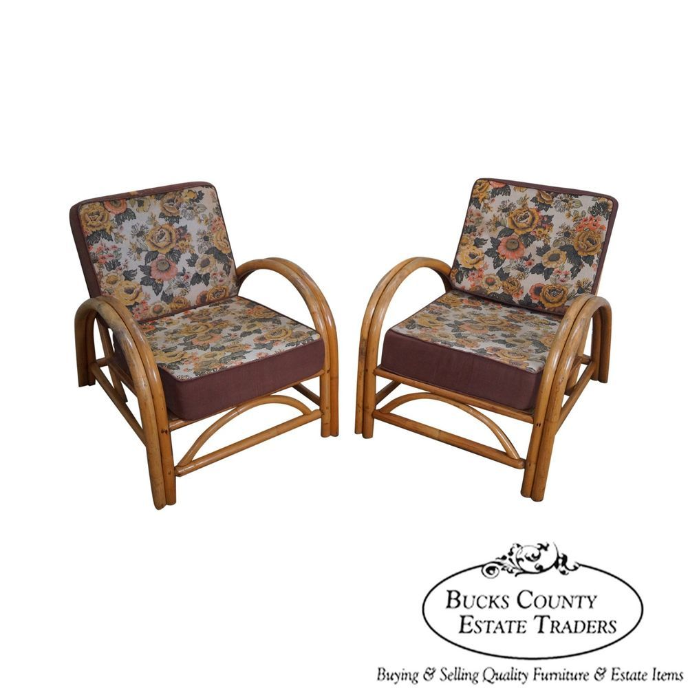 Vintage Pair Of Ficks Reed Rattan Bamboo Lounge Chairs #MidCenturyModern