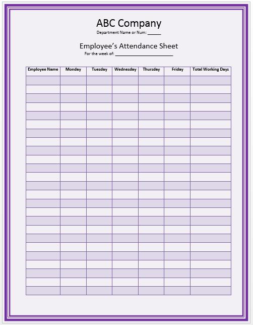 office staff attendance sheet template official templates