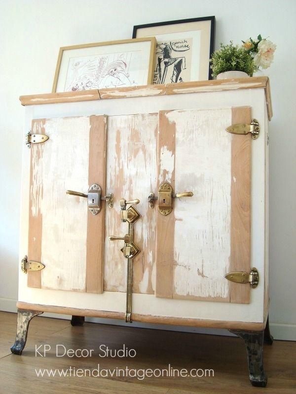 Nevera de hielo antigua nevera pinterest nevera y hielo for Muebles antiguos vintage