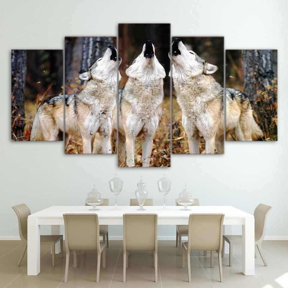 HD Printed 5 Piece canvas Art White Wolf Group Paintings Framed Wall ...