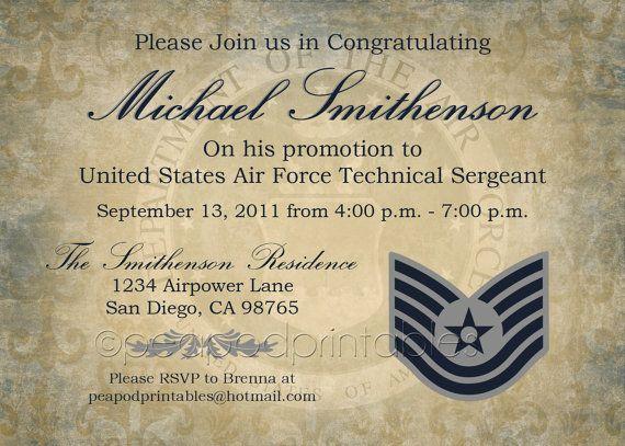 invite idea- re-write for retirement Military retirement - fresh invitation card to chief guest