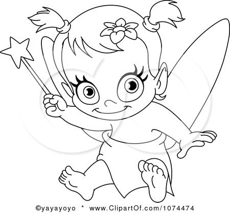 Image Detail For Outlined Baby Fairy Holding Up A Wand Immagini Timbri