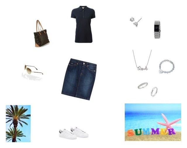 """""""Saturday Summer Day"""" by poldi1976 ❤ liked on Polyvore featuring 7 For All Mankind, adidas, Burberry, Bony Levy, Tiffany & Co., Ice, Sydney Evan, Rado and Louis Vuitton"""