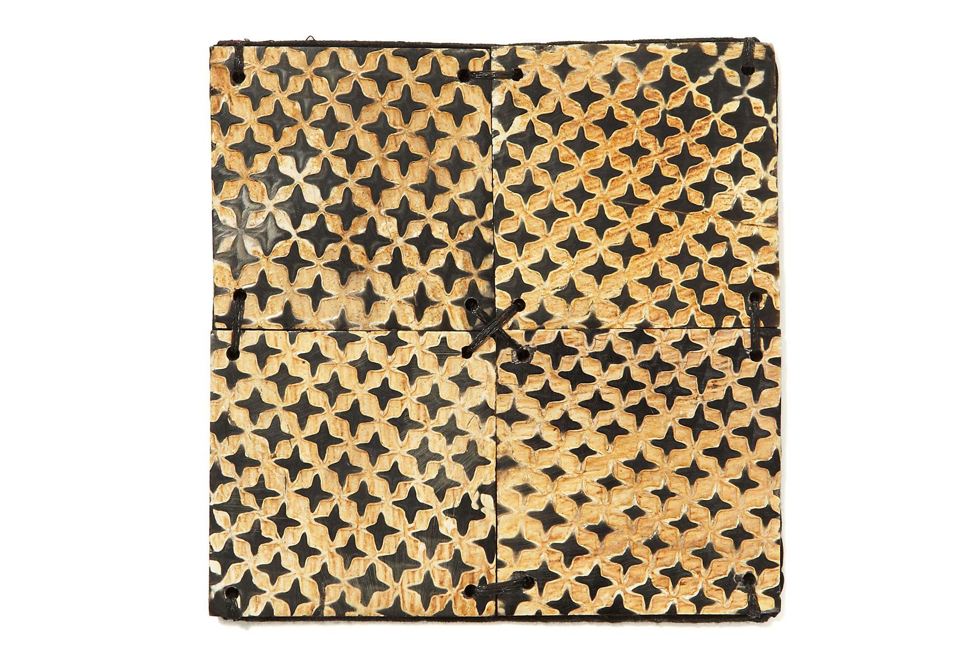 gold and black Patterned Burnt Horn Coaster - S/4