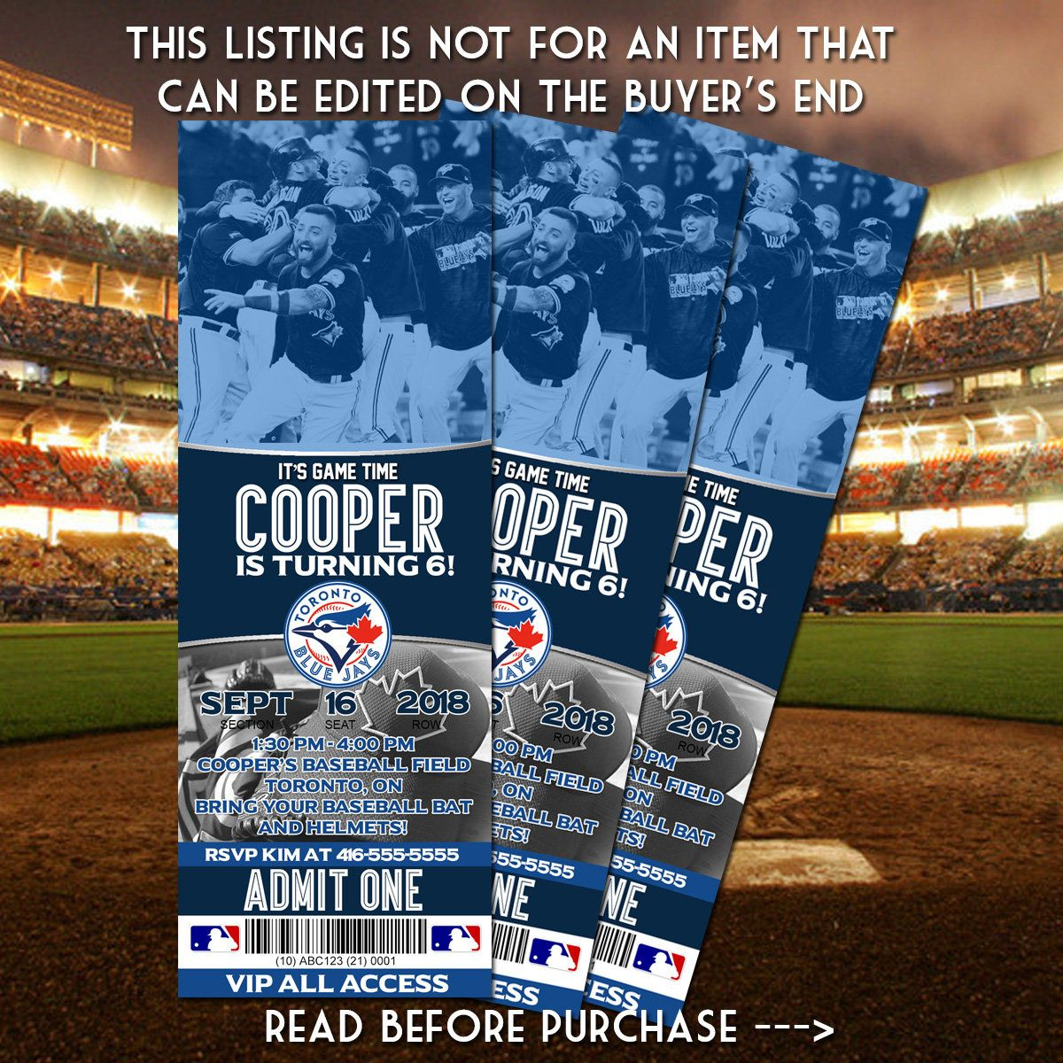 Printable Toronto Blue Jays Birthday Invitation Digital Graphic Design Toronto Baseball