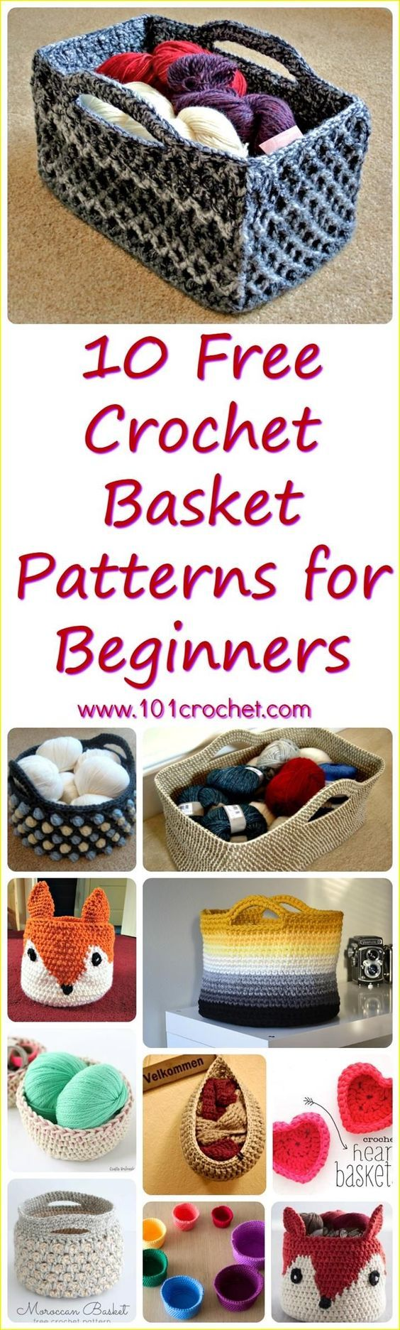 10 Free Crochet Basket Patterns for Beginners | Diy häkeln, Häkeln ...