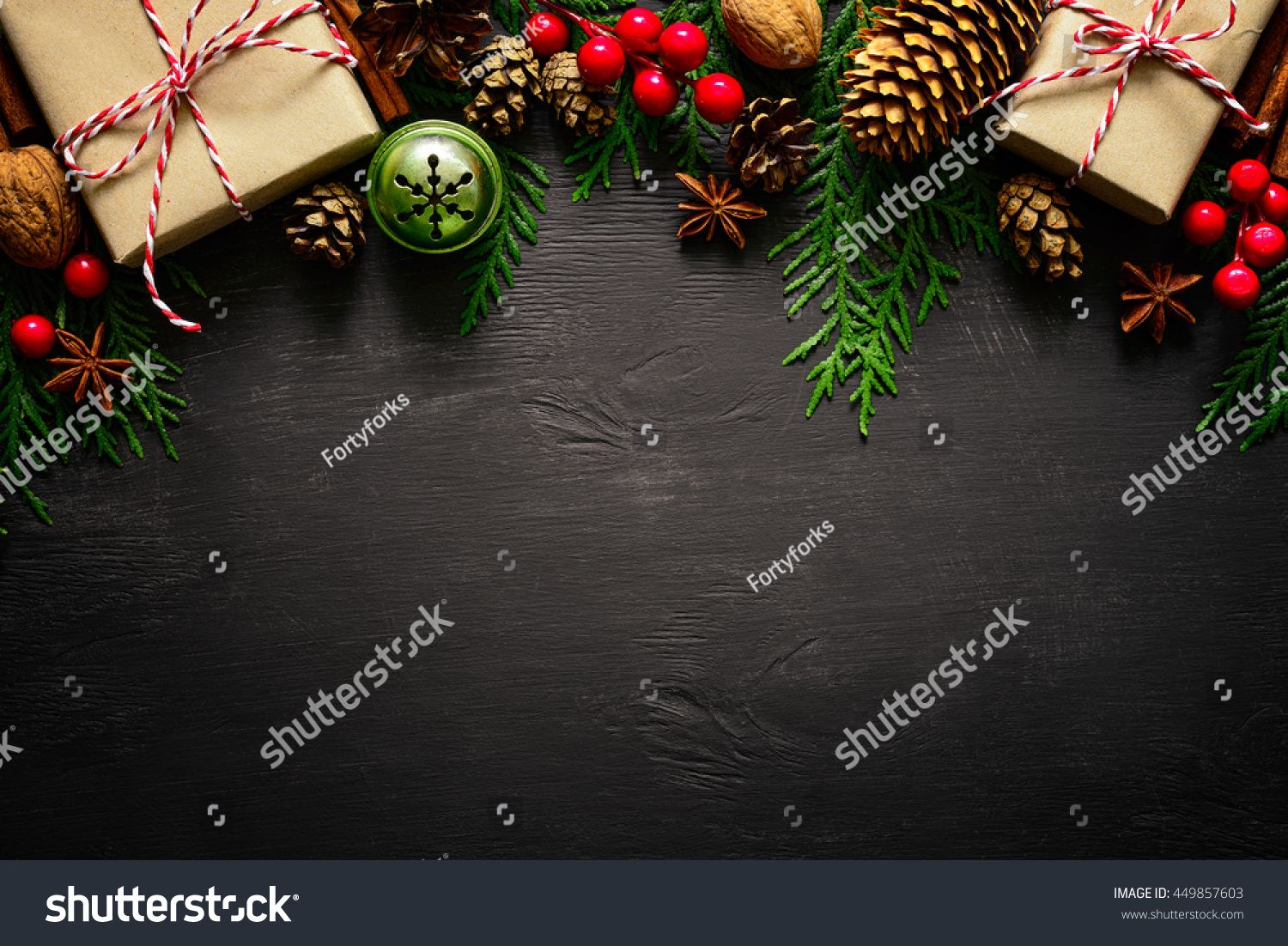Christmas or New Year dark wooden background, Xmas black board framed with season decorations, space for a text, view from above #Sponsored , #ad, #background#Xmas#black#wooden