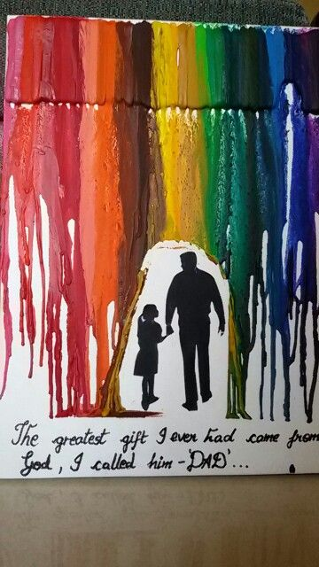 Diy Birthday Gift For Dad Melted Crayon Art Creative
