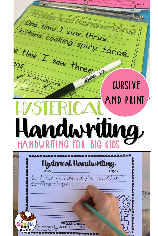 Hysterical Handwriting Worksheets Cursive Print Bundle With