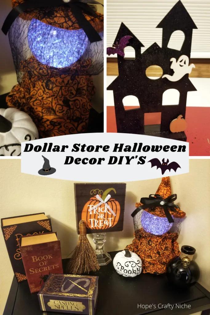 2 Dollar Store Halloween Decor Crafts Hope S Crafty Niche Dollar Store Halloween Dollar Store Halloween Decorations Halloween Crafts Decorations