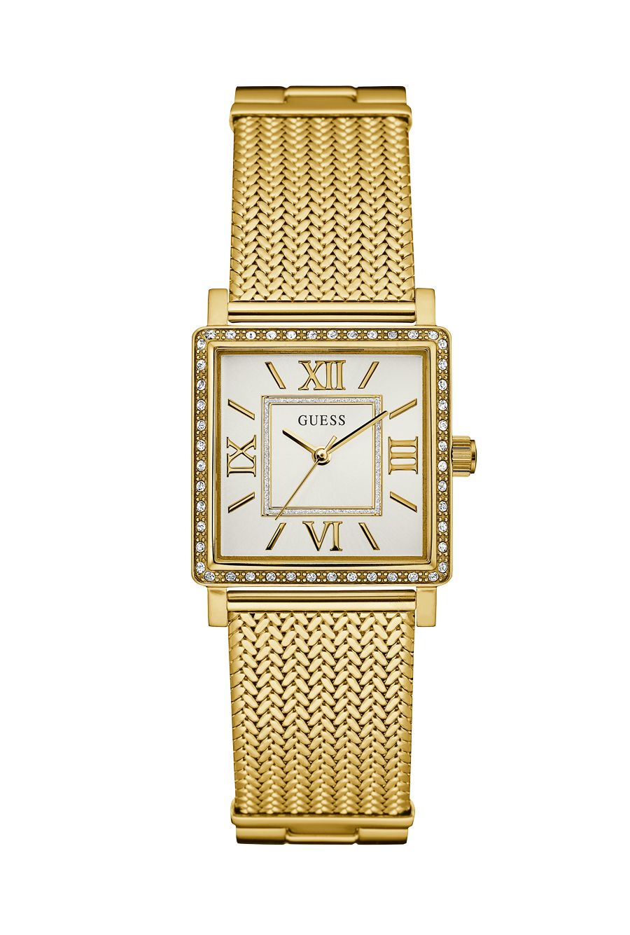 Ladies Gold Guess Mesh Highline Square WatchWatches H29EIWD
