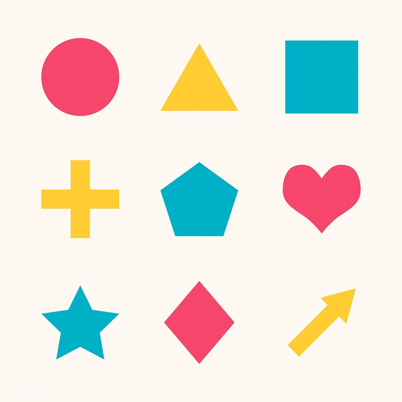 Colorful Flat Geometric Shapes Set Vector Free Image By Rawpixel