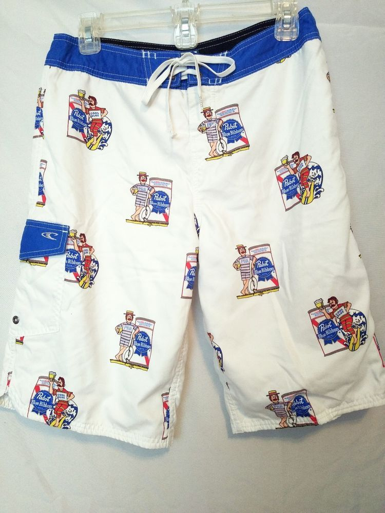 392e6a5e169 PBR Pabst Blue Ribbon Beer O neill COOL BLUE 30 Swim Trunks Board Shorts   ONeill  BoardShorts