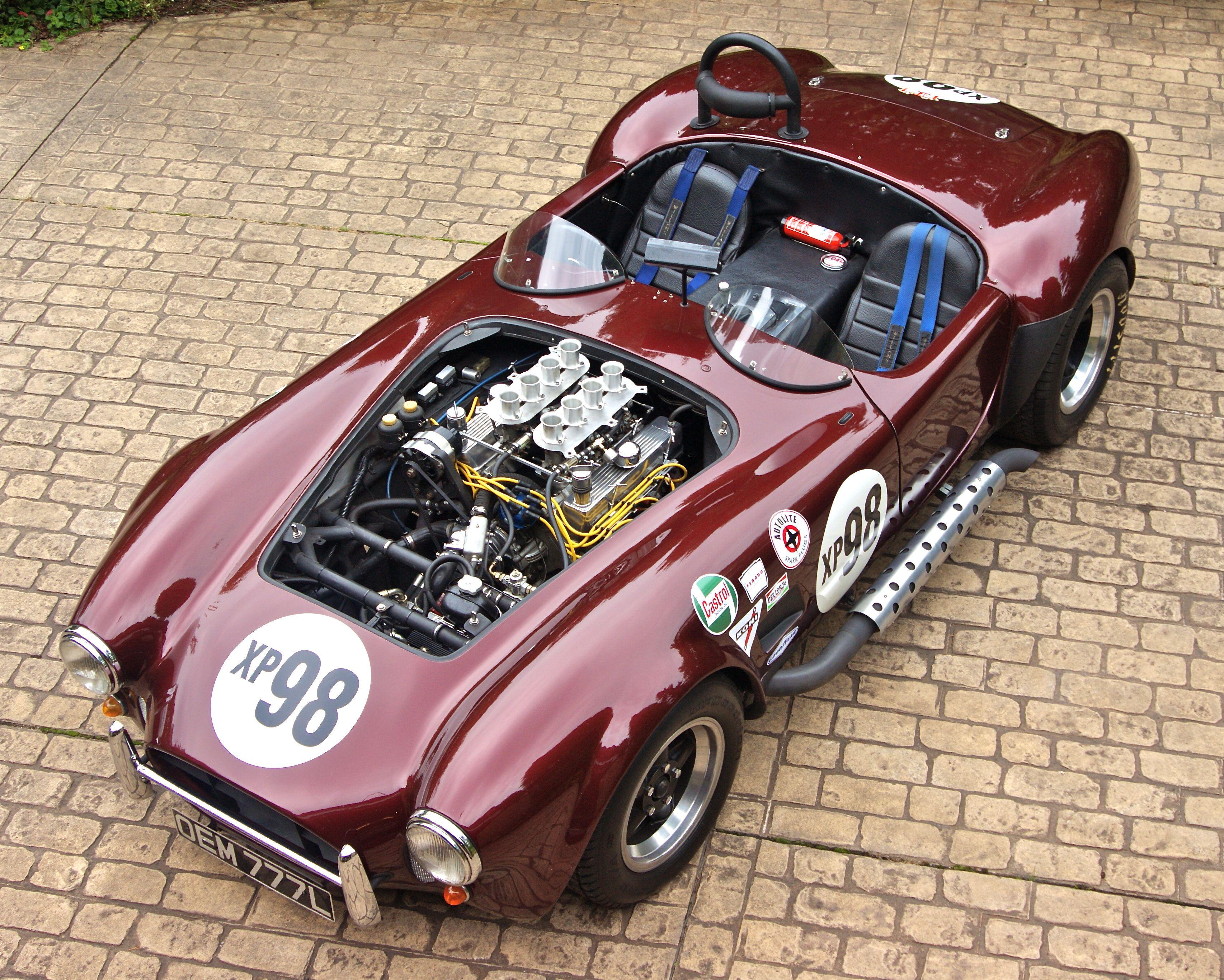 Magnum 427 ac shelby cobra replica xp98 red burgundy side pipes downdraft carburetors