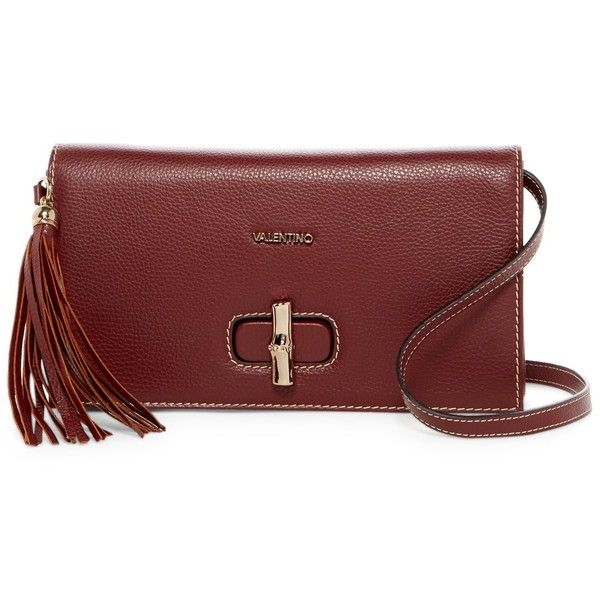 Valentino By Mario Valentino Elsa Leather Crossbody (19.125 RUB) ❤ liked on Polyvore featuring bags, handbags, shoulder bags, bread, crossbody shoulder bags, leather cross body purse, leather cross body handbags, red leather shoulder bag and red leather handbags