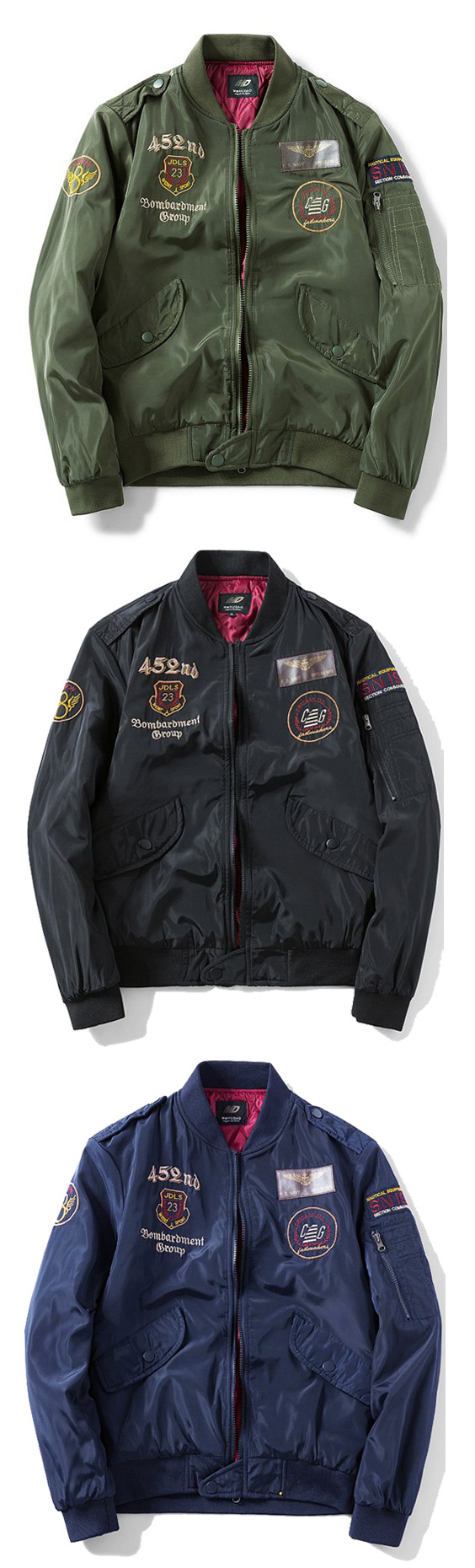 Zip Up Patch Design Epaulet Bomber Jacket Mens Outfits Bomber Jacket Jackets [ 1860 x 564 Pixel ]