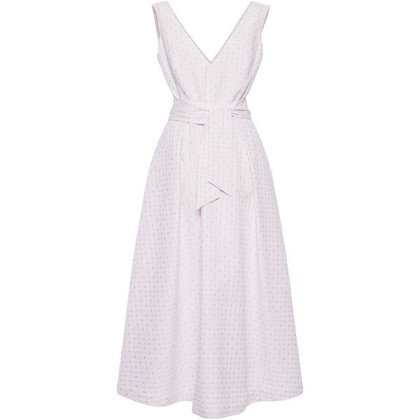 Luisa Beccaria Cotton V-Neck Dress ($1,580) ❤ liked on Polyvore featuring dresses, low v neck dress, midi dress, deep v neck dress, pink dress and sleeveless dress