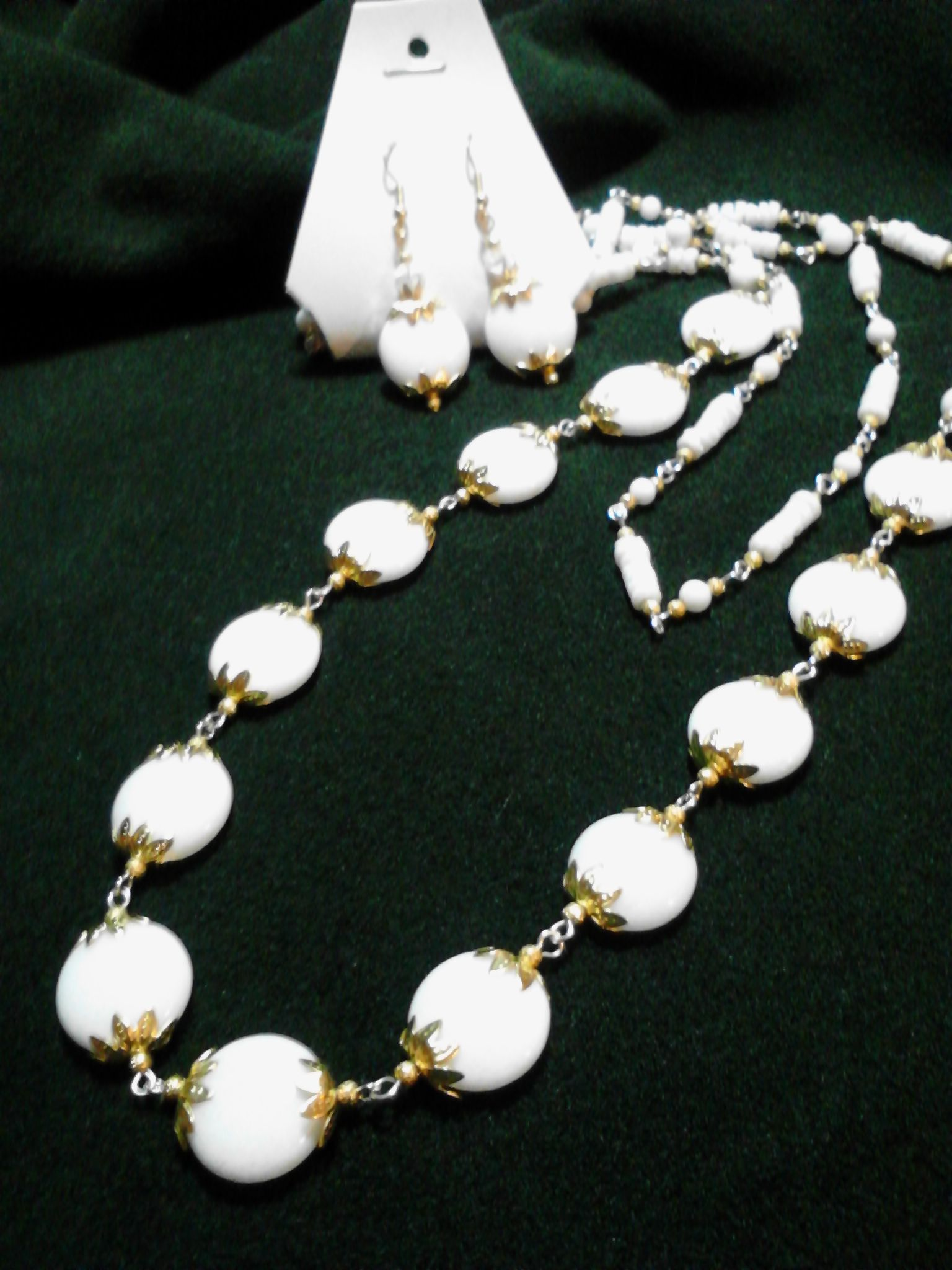 White glass beads with gold accents long necklace and earrings set