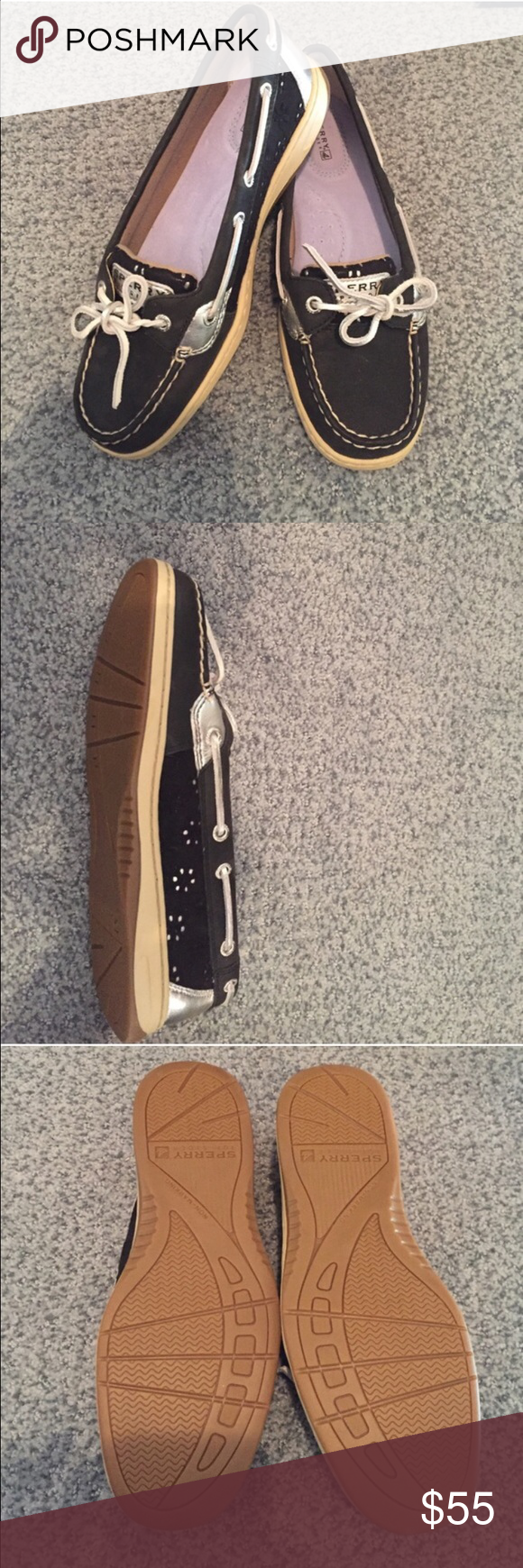 Black and Silver Sperrys Brand new and never worn black and silver sperry boat shoes Sperry Top-Sider Shoes