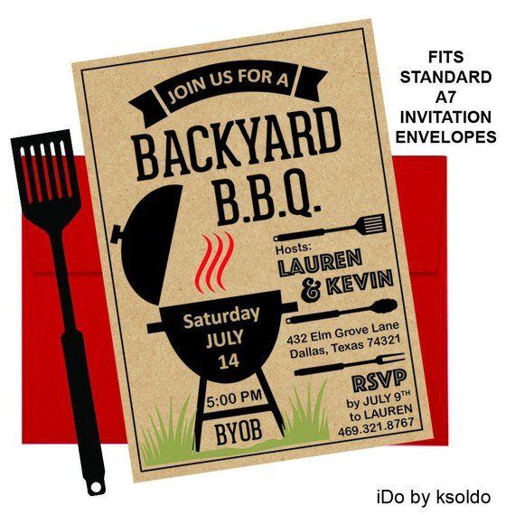 kraft paper backyard bbq invitation