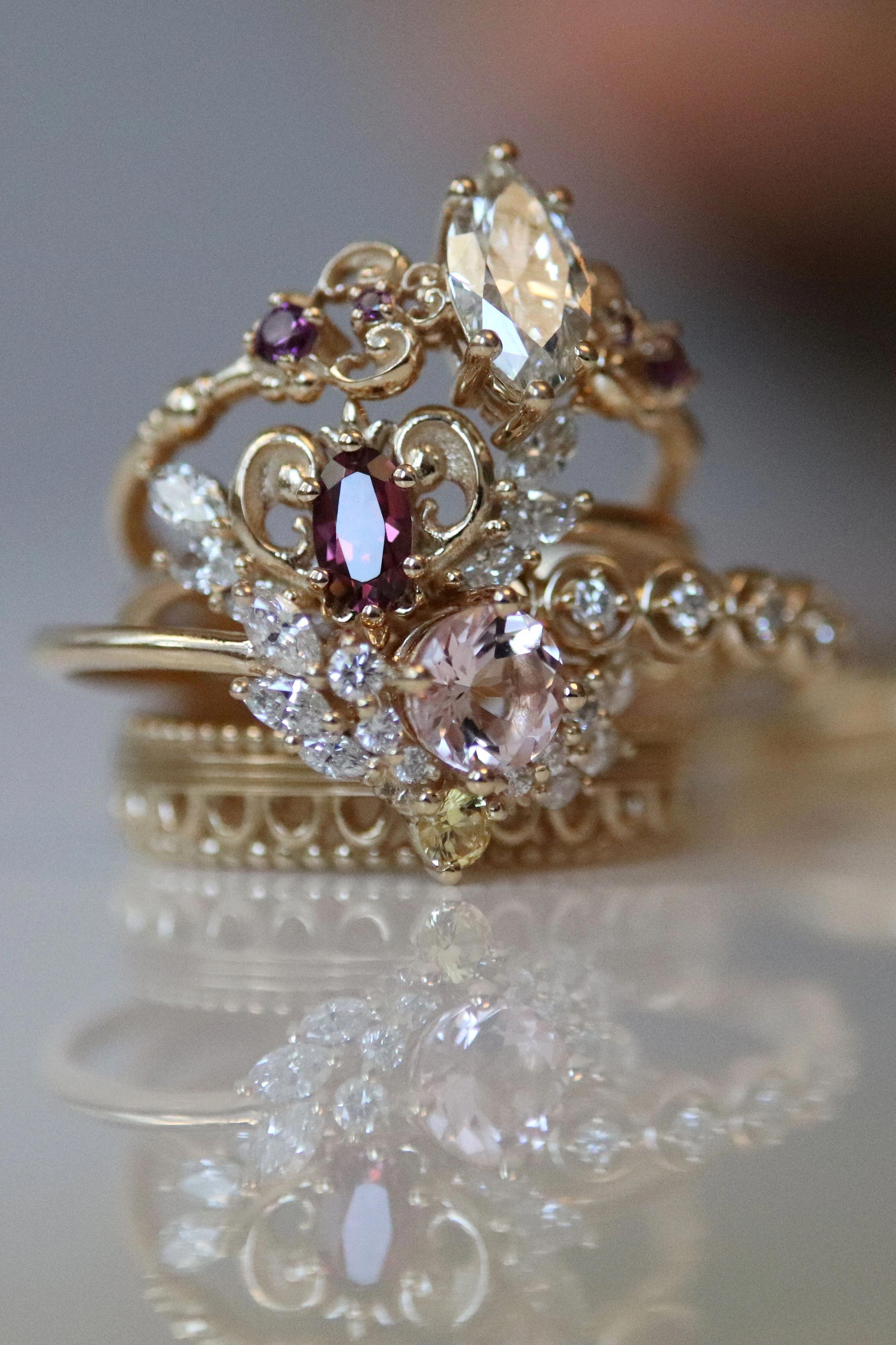 Star Setting Diamond Ring, 14k Gold Wedding Band with