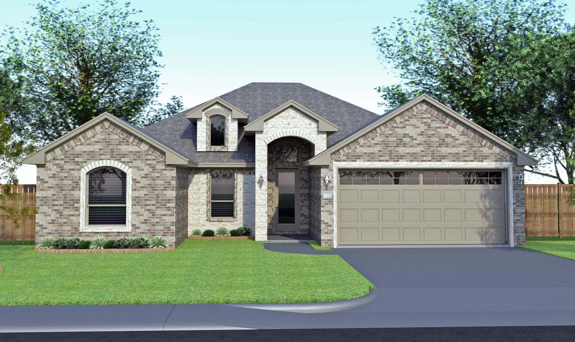 Francesca stone elevation b uses permian homes color brick scheme d2 and south texas blend acme natural stone