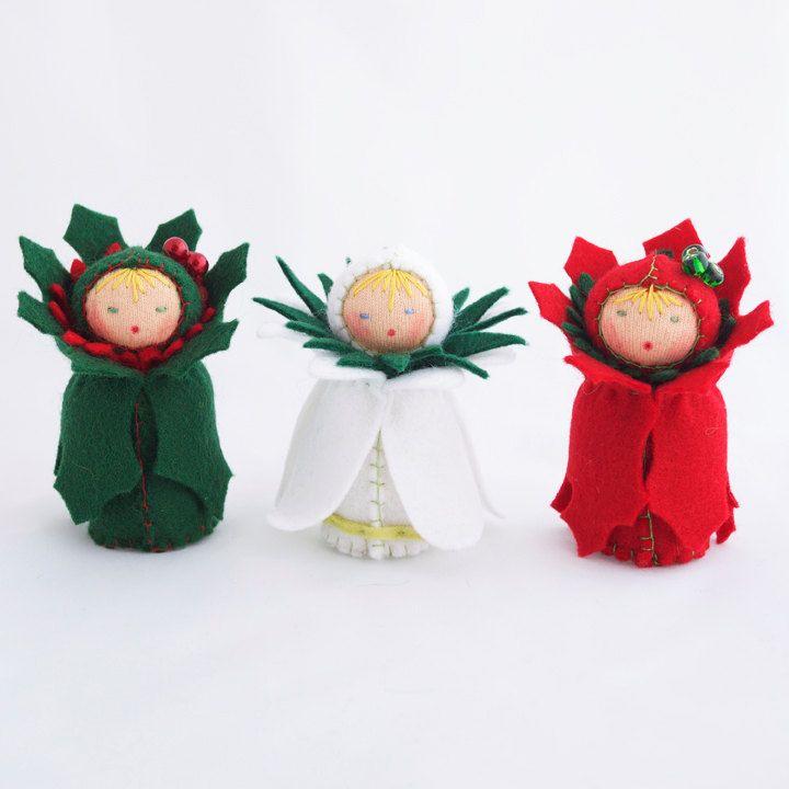 Christmas Felt Ornaments Miniature Dolls Green Red White Flower Decor   Via