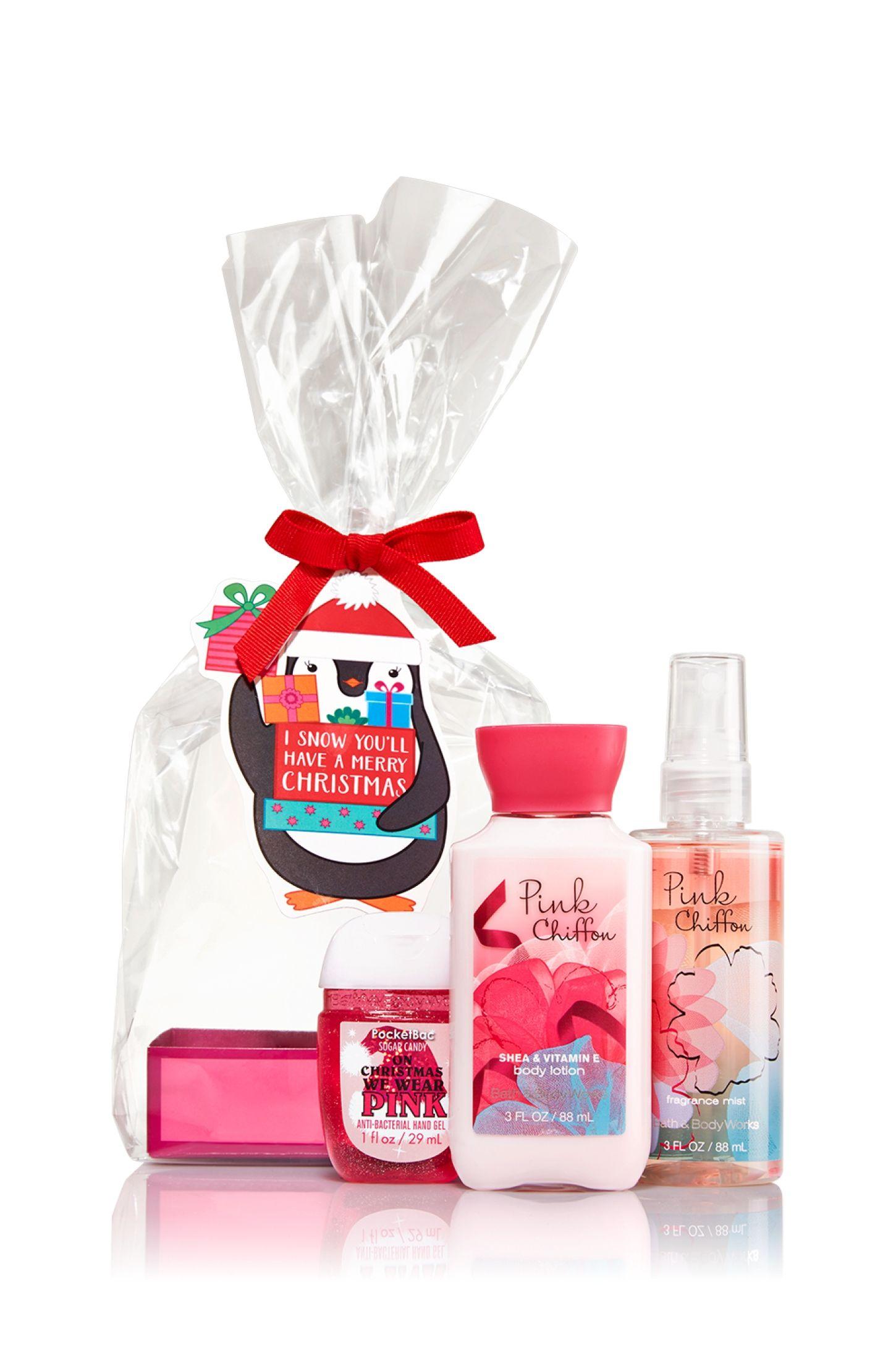 Pink Chiffon Penguin Christmas Gift Set Signature Collection