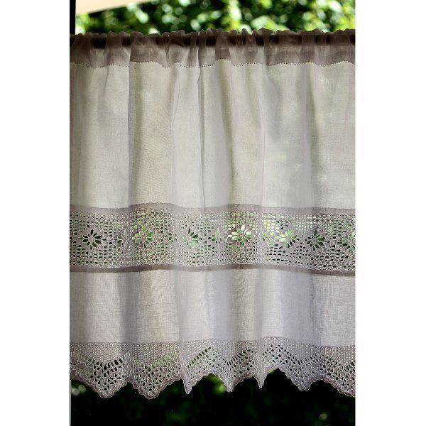 brise bise crochet 45 x 35 cm lilie rose d co brises bise stores rideaux pinterest. Black Bedroom Furniture Sets. Home Design Ideas