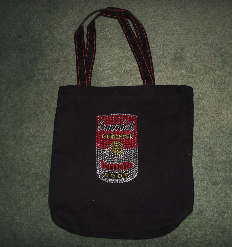 Women S Silver Red Black Campbell S Soup Beaded Bling Canvas Tote Bag Purse Tote Bag Purse Canvas Handbags Tote Bag