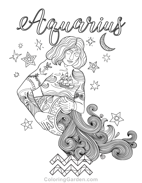 Free printable Aquarius adult coloring page. Download it in PDF ...