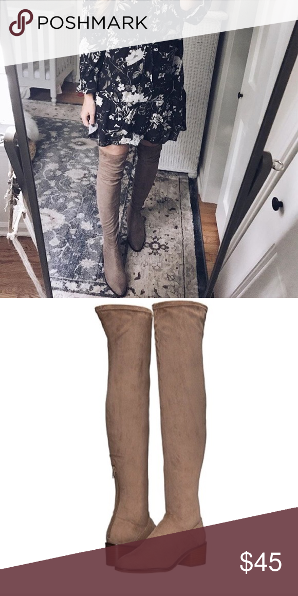 ebb2cd7e6f0 Steve Madden Gabriana over the knee taupe boots 9 Over the knee ...