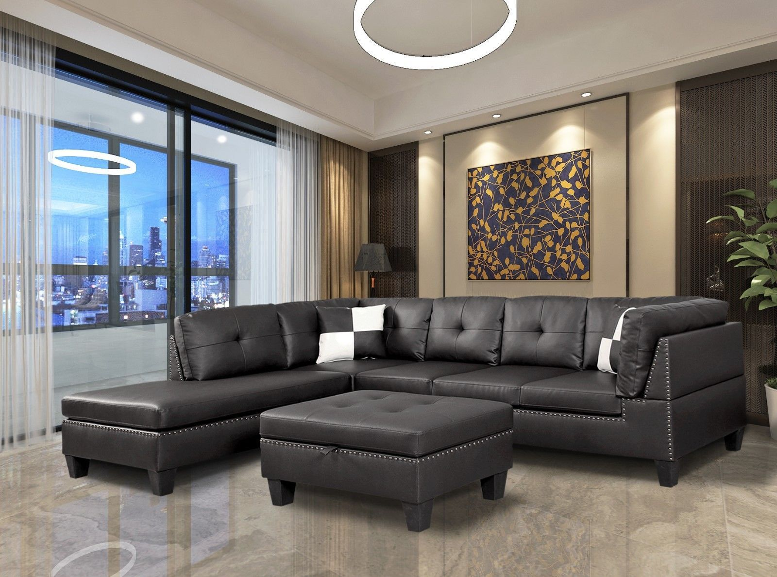 Fine Winpex Nail Head Trim Faux Leather Sectional Sofa With Uwap Interior Chair Design Uwaporg