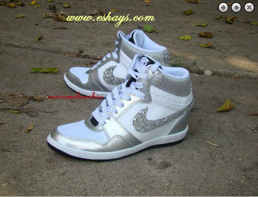 Silver White Nike Sky Force Dunk with Crystals | Nike Dunk