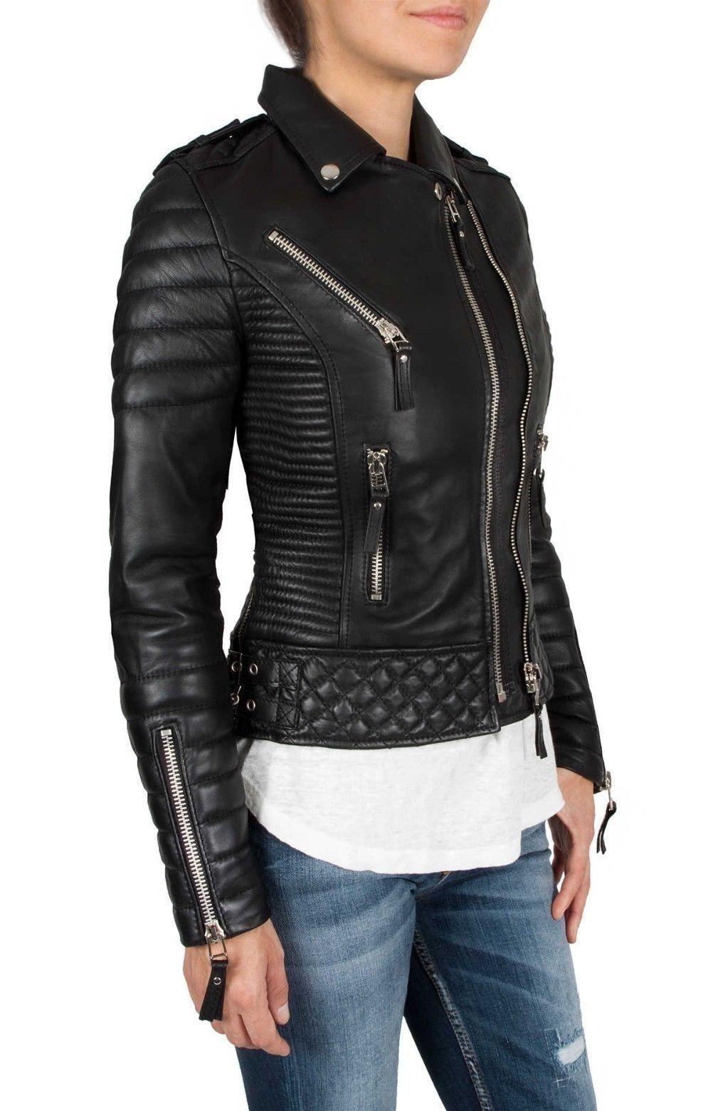 2b70b0f0e51 Designer Stylish Quilted Wear Lambskin Real Leather Biker Jacket For Women -Wj035