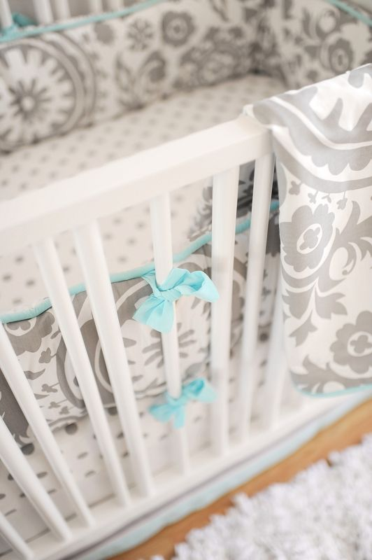 Charming Gray And Aqua Baby Bedding For A Sweet Nursery Grey Damask Pattern With Piping Splash Of Color This Makes Fresh Calming