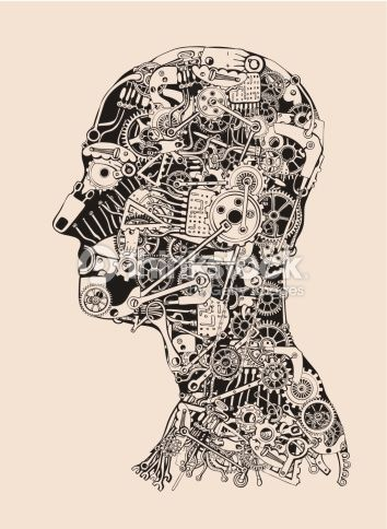 vector art cogs and gears human head cyborg profile human