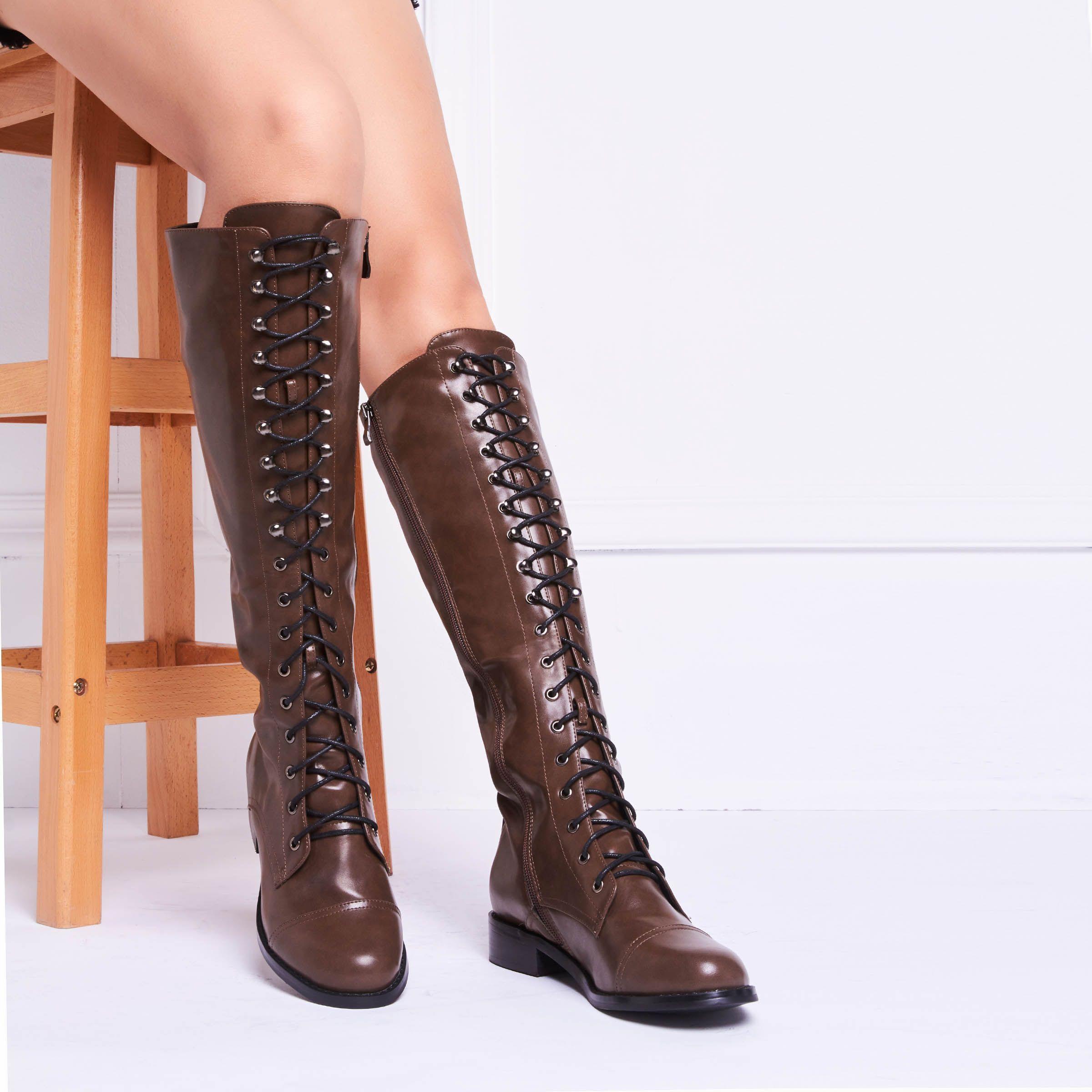 Out-Door Wearing Lace-Up Flat Boots   Knee High Boots   Boots, Flat ... da79a86e6da