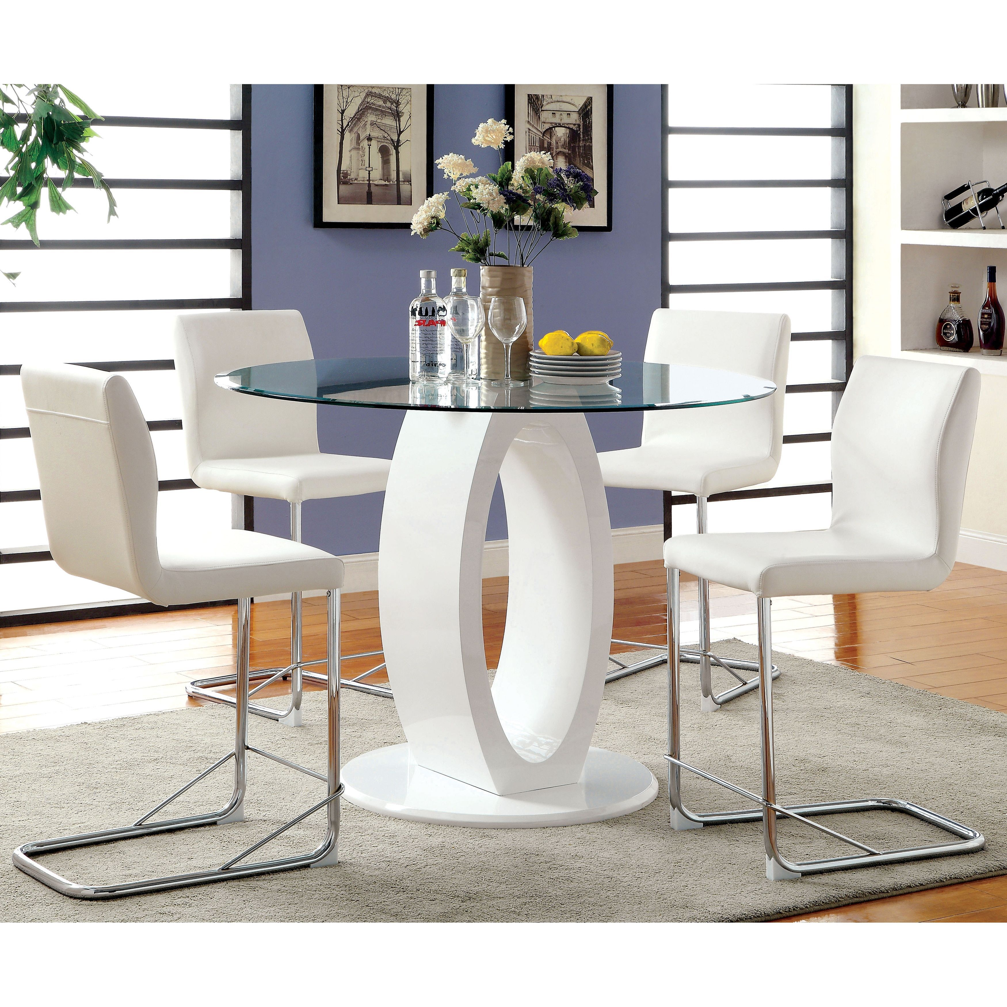 Furniture Of America Olgette Contemporary 5 Piece High Gloss Counter