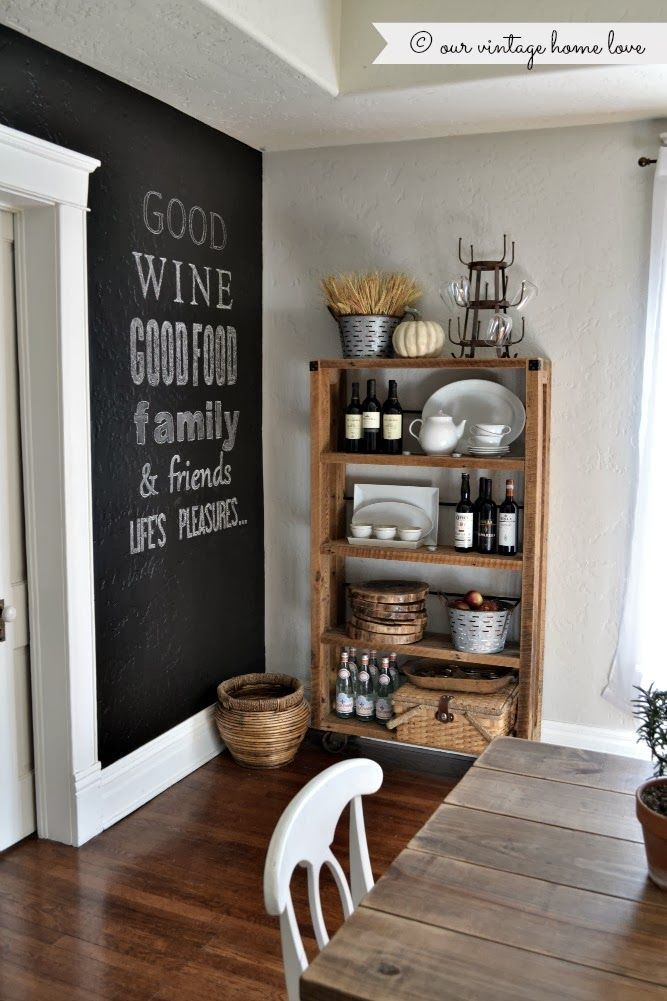 Our Vintage Home-Rustic Open Shelving & chalkboard wall