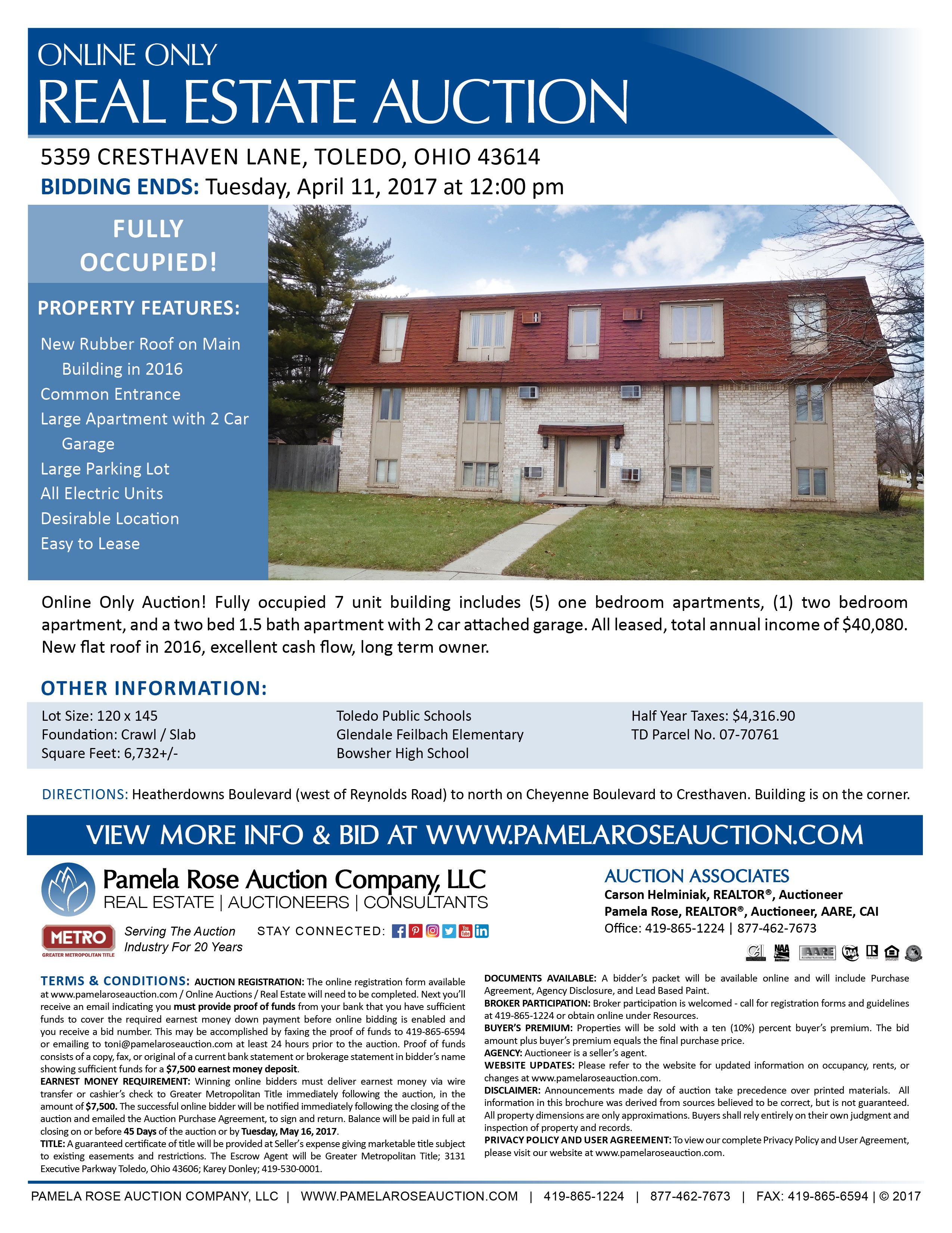 Fully occupied 7 unit buildingg online only auction 5359