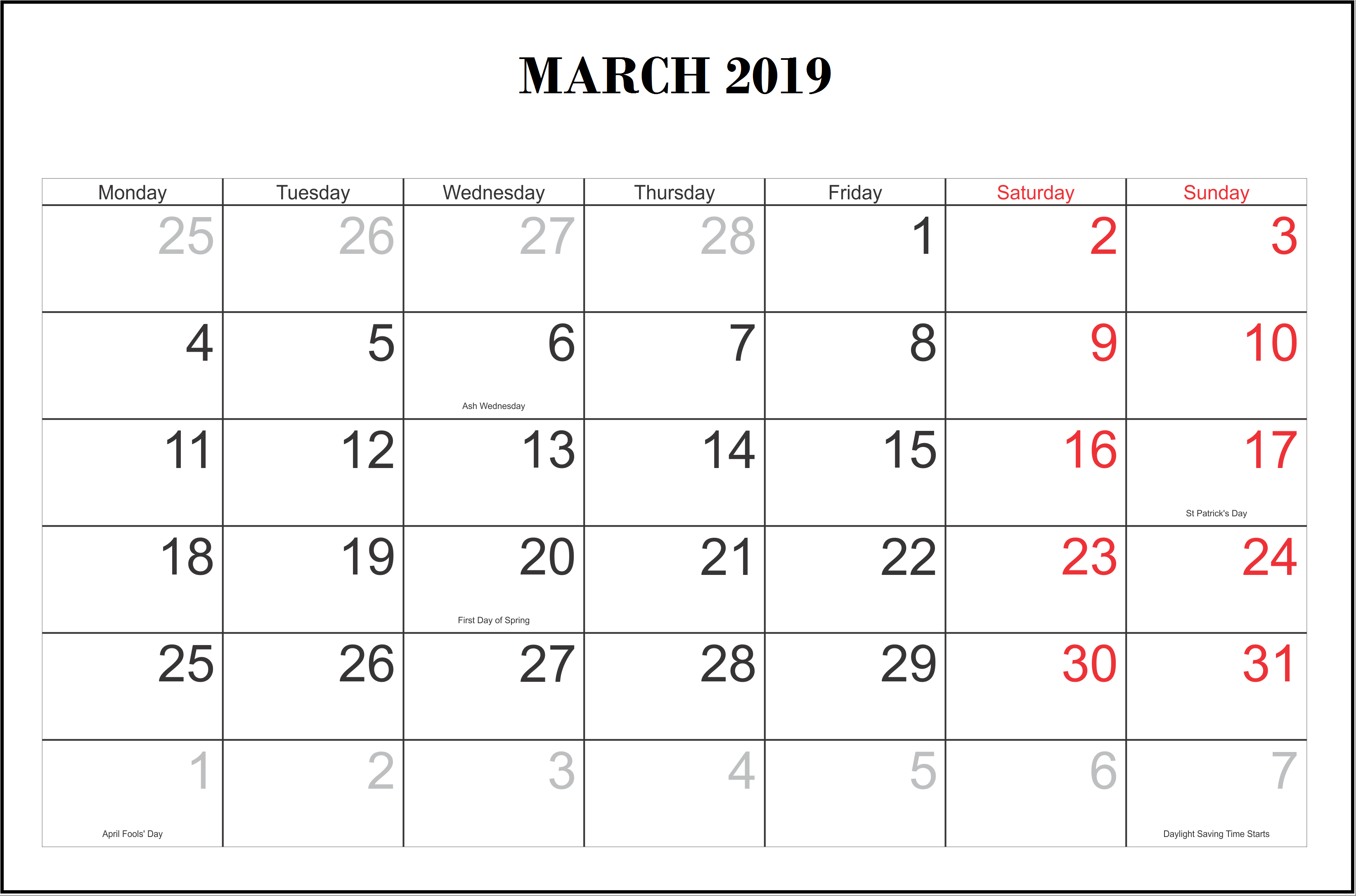 monthly 2019 calendar templates march monthly calendar templates